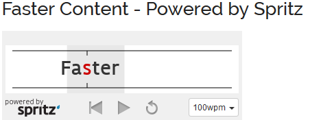 Spritzing text with Faster Content
