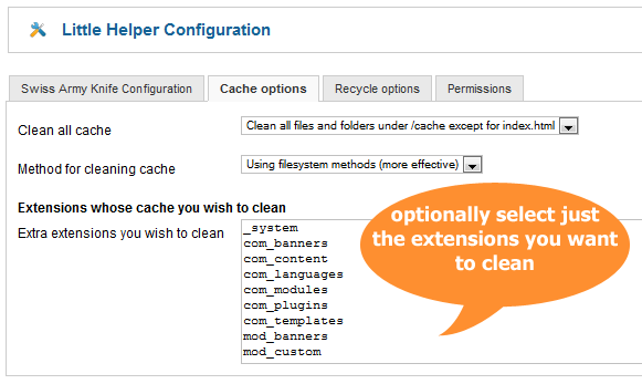 Joomla Cache clean options